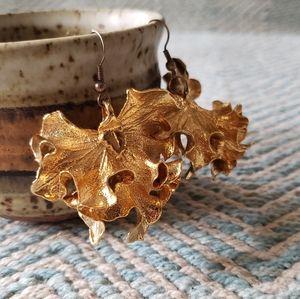 Gold-dipped Ginko Earrings